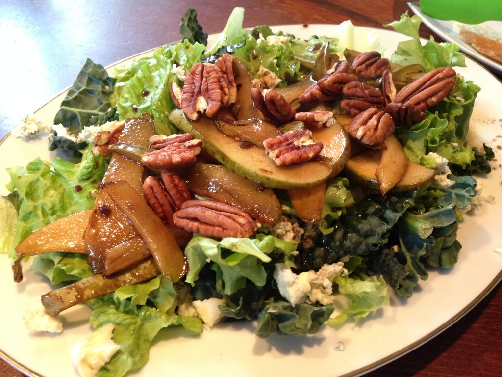KALE, BLUE CHEESE, CARAMELIZED PEAR SALAD